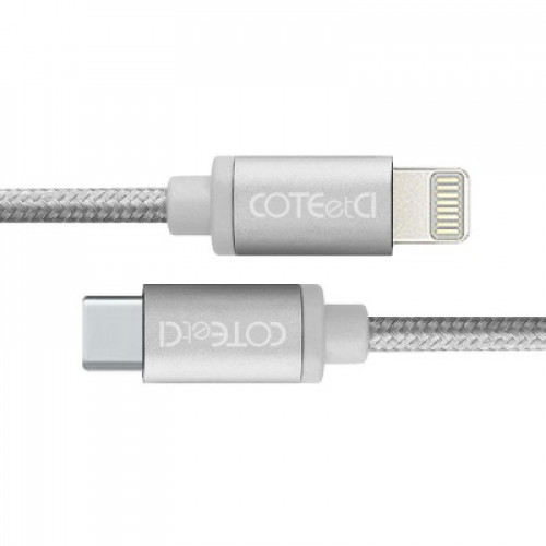 Кабель Lightning COTEetCI M38 Type-C to Lightning Cable 1.2m Silver (CS2151-TS)