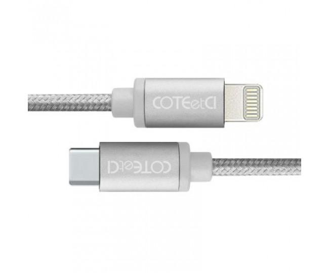 Кабель Lightning COTEetCI M38 Type-C to Lightning Cable 1.2m Silver (CS2151-TS)