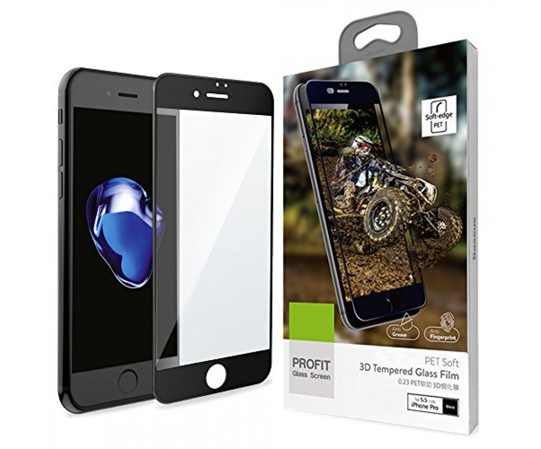 Защитное стекло Baseus 3D PET Soft для iPhone 6/6S Plus Black