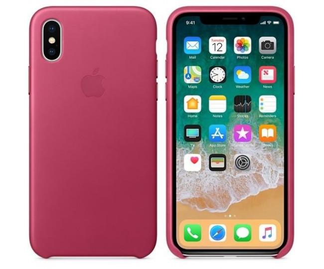 Оригинальный чехол Apple Leather Case для iPhone X Pink Fuchsia (MQTJ2)