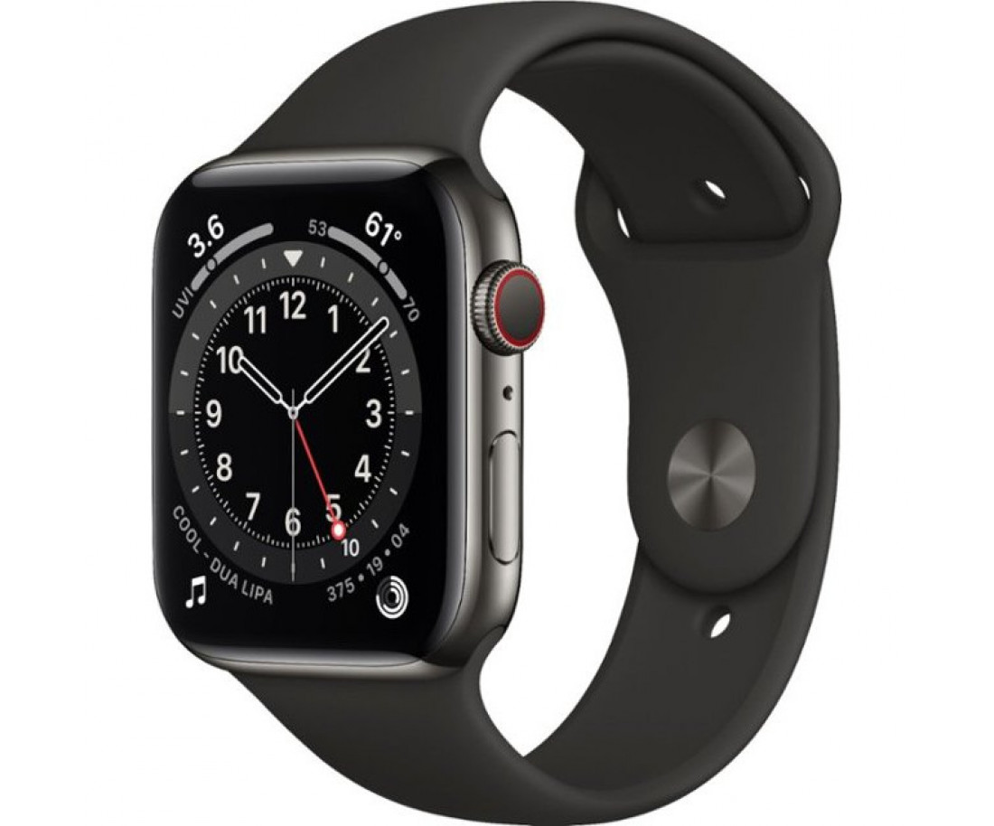 Apple Watch 6 40mm 4G Graphite Stainless Steel Case with Black Sport Band (M02Y3/M06X3)