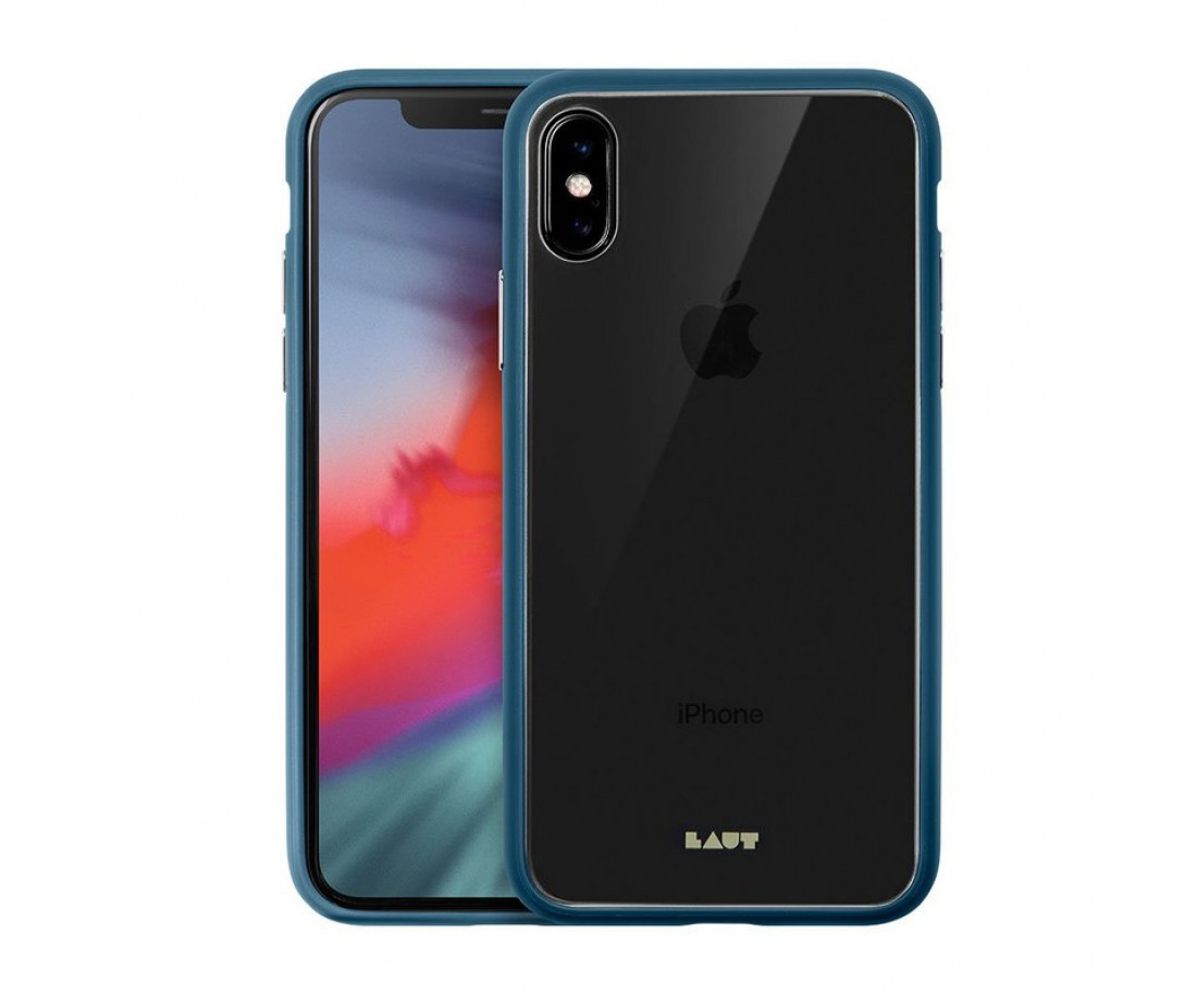Чехол LAUT ACCENTS TEMPERED GLASS для iPhone X/XS Blue (LAUT_iP18-S_AC_BL)