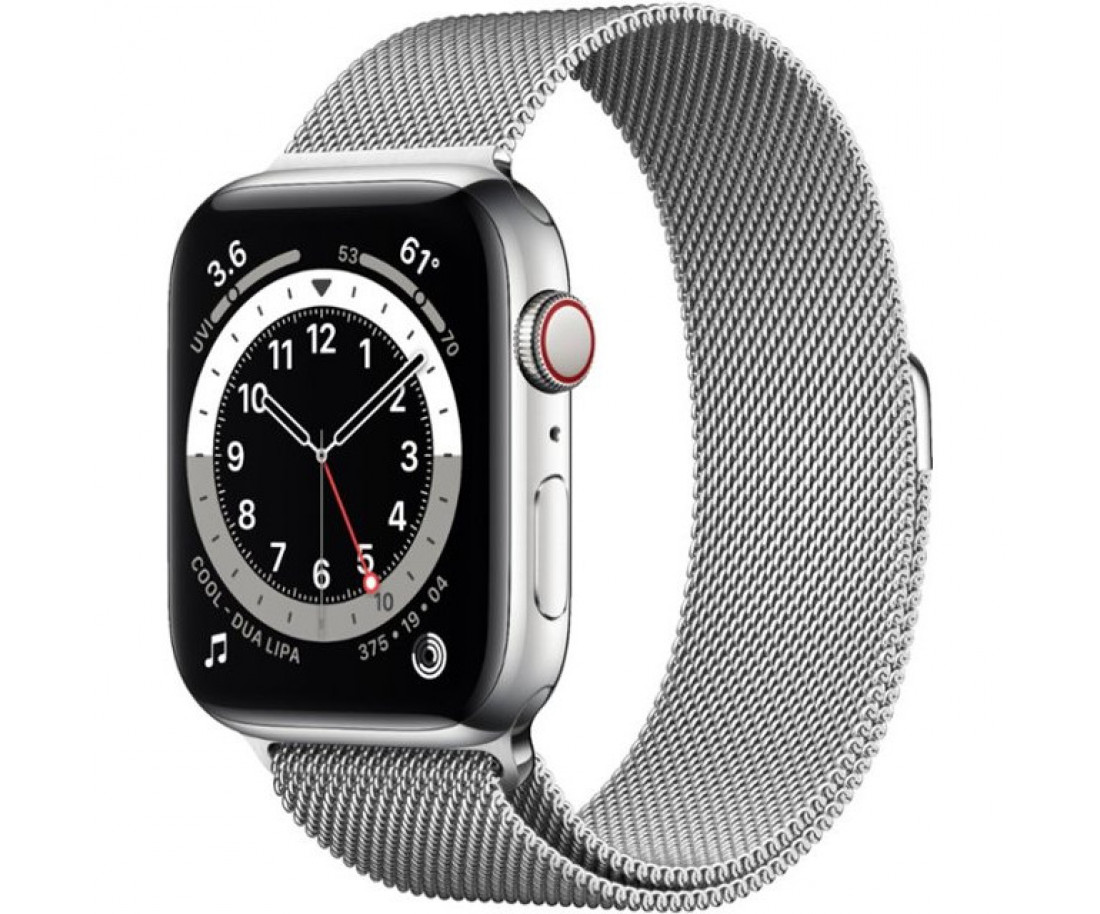 Apple Watch Series 6 GPS + Cellular 44mm Silver Stainless Steel Case w. Silver Milanese L. (M07M3)
