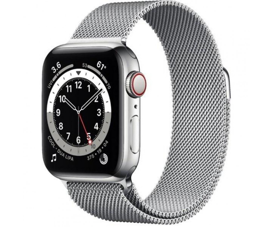 Apple Watch 6 40mm 4G Silver Stainless Steel Case with Atlantic Blue Braided Solo Loop (M0DV3)