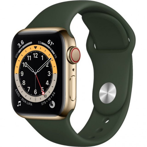 Apple Watch 6 40mm 4G Gold Stainless Steel Case with  Cyprus Green Sport Band (M09F3)