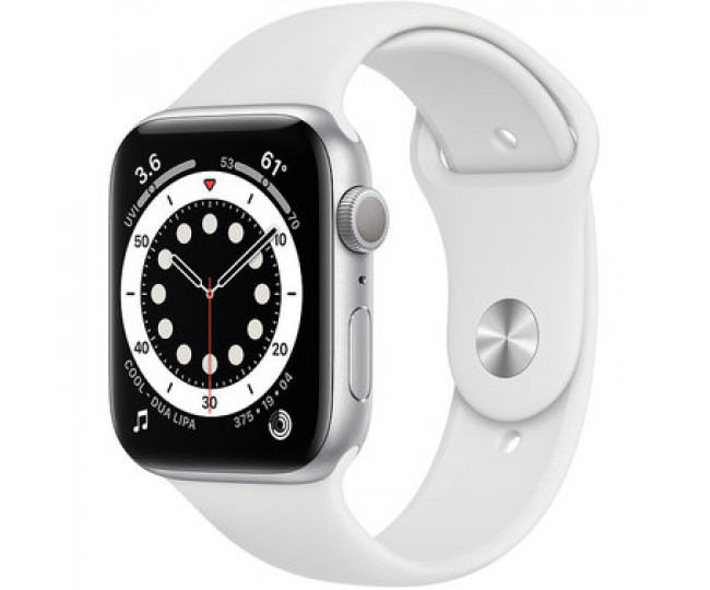 Apple Watch Series 6 GPS 44mm (GPS+LTE) Silver Aluminum Case with White Sport Band (M07F3 / MG2C3)