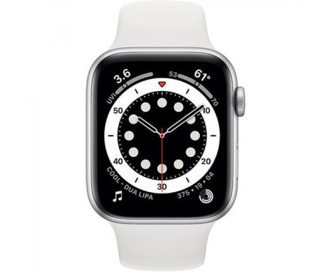Apple Watch 6 44mm GPS+LTE Silver Aluminum Case w. White Sport Band (M07F3/MG2C3) б/у