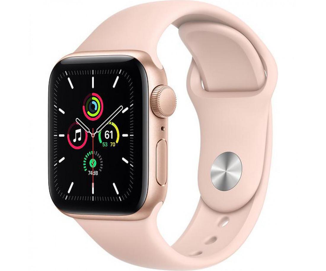 Apple Watch SE GPS 44mm Gold Aluminum Case with Pink Sand Sport Band - Regular MYDR2