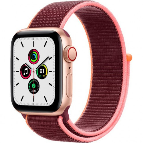 Apple Watch SE GPS + Cellular 40mm Gold Aluminum Case with Plum Sport L. (MYEC2)