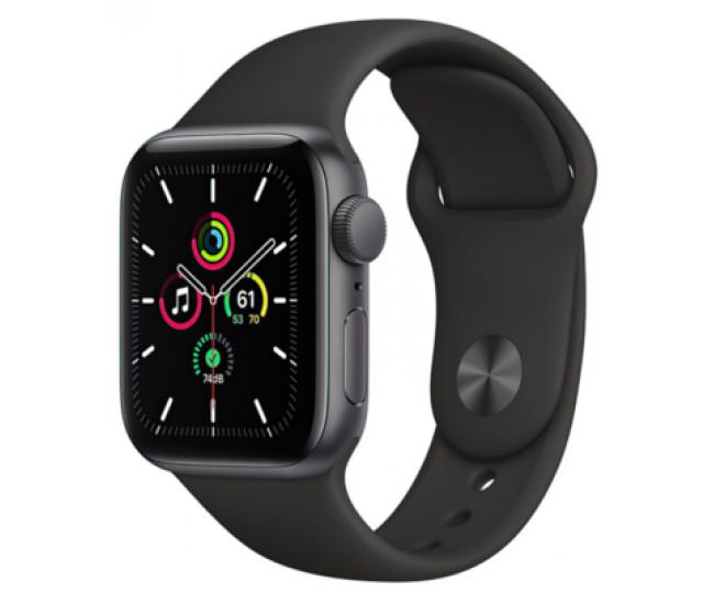 Apple Watch SE GPS 40mm Space Gray Aluminum Case with Black Sport Band - Regular MYDP2