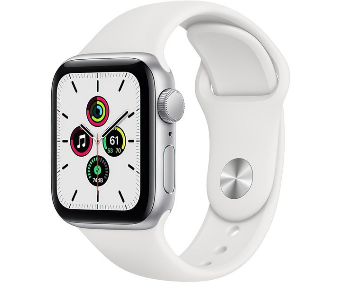 Apple Watch SE GPS 44mm Silver Aluminum Case w. White Sport B. (MYDQ2)
