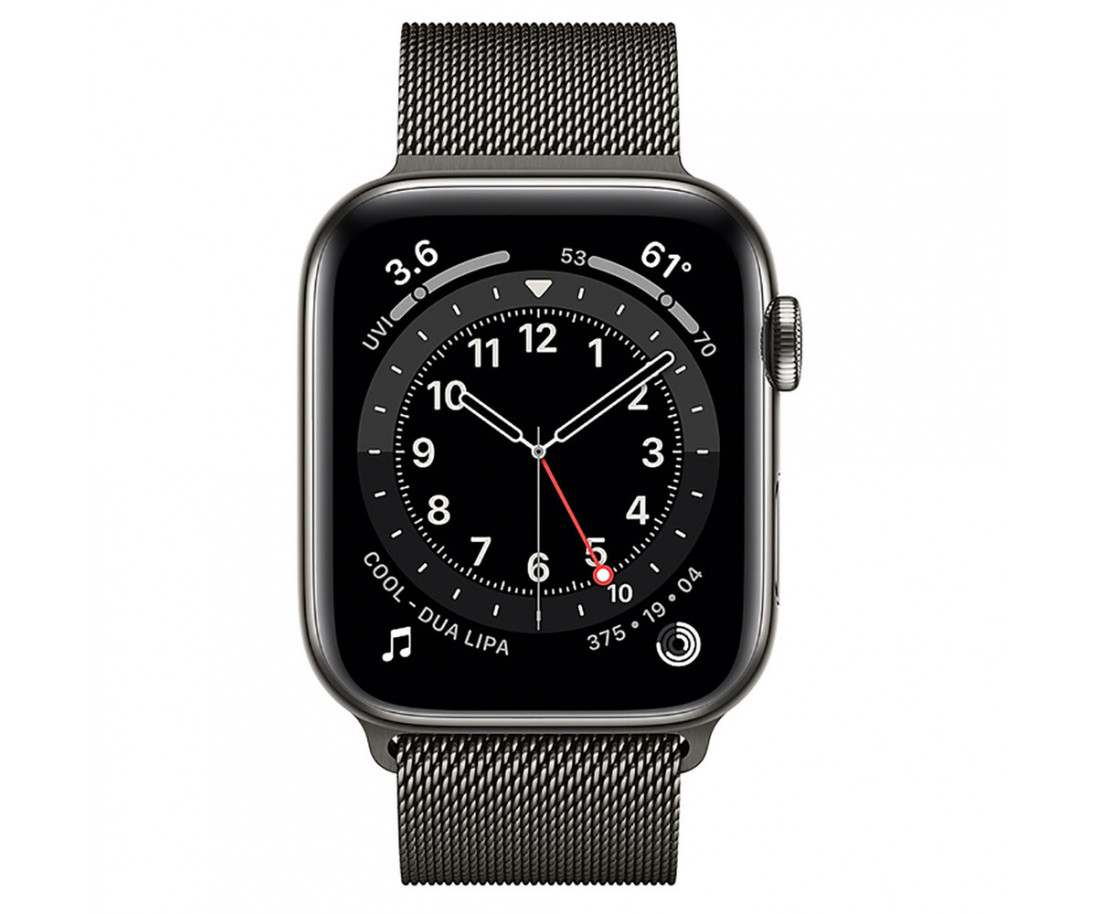 Apple Watch 6 44mm 4G Graphite Stainless Steel Case with Graphite Milanese Loop (M09J3/M07R3)