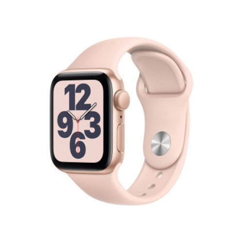 Apple Watch SE GPS 40mm Gold Aluminum Case with Pink Sand Sport Band - Regular MYDN2