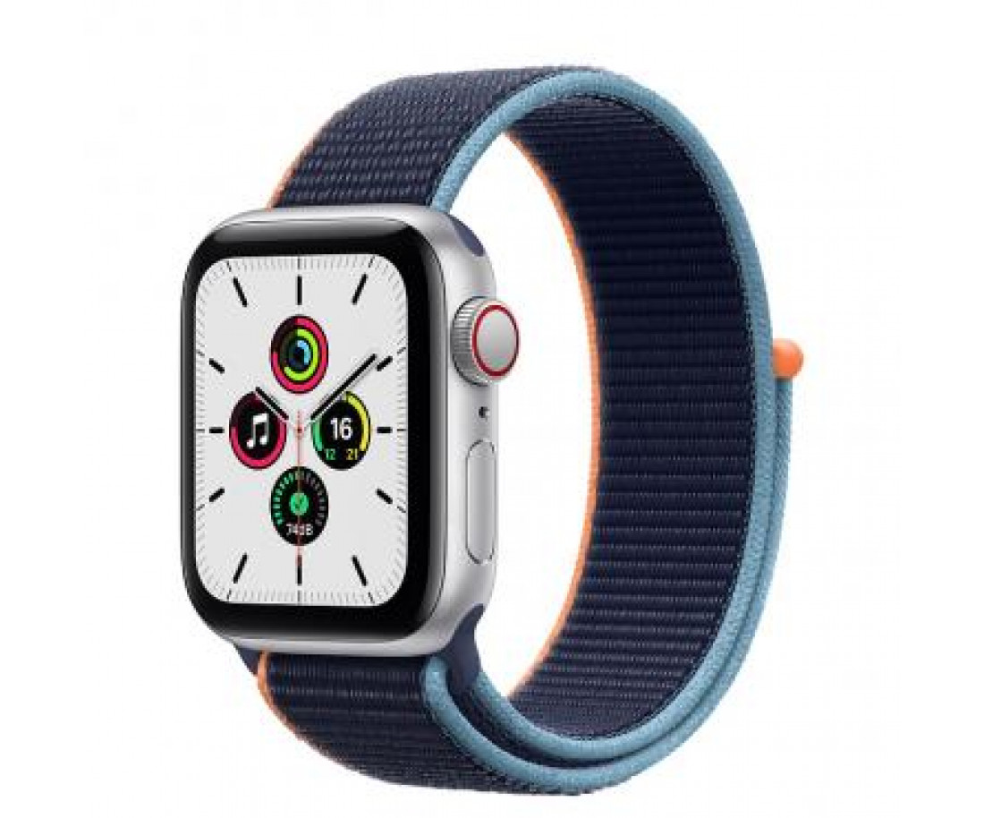 Apple Watch SE GPS + Cellular 40mm Silver Aluminum Case with Deep Navy Sport Loop (MYE92 / MYEG2)