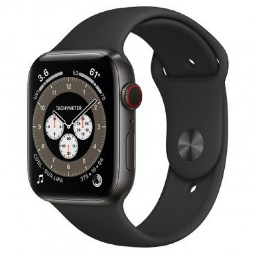 Apple Watch 6 4G 44mm Space Black Titanium Case with S/M Dark Gray Sport Band (M0H13)