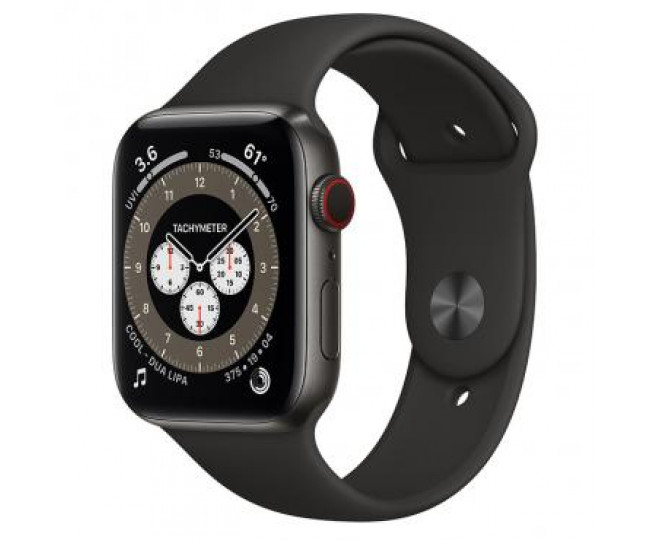 Apple Watch 6 4G 44mm Space Black Titanium Case with S/M Dark Gray Sport Band (M0H13)