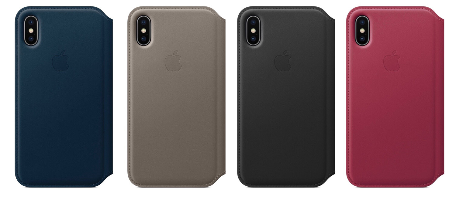 Apple leather folio iPhone X цвета