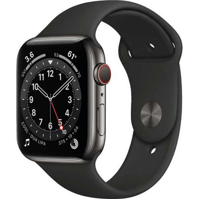 Apple Watch Series 6 GPS 44mm (GPS+LTE) Space Gray Aluminum Case with Black Sport Band (M07H3)