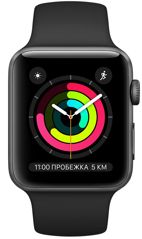 Apple Watch Series 3 GPS MTF02 38mm Space Gray Aluminum Case with Black Sport Band