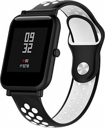 Купить Ремешки и браслеты для смарт-часов, UWatch Silicone Double color strap for Amazfit Bip Black/White, Другие производители