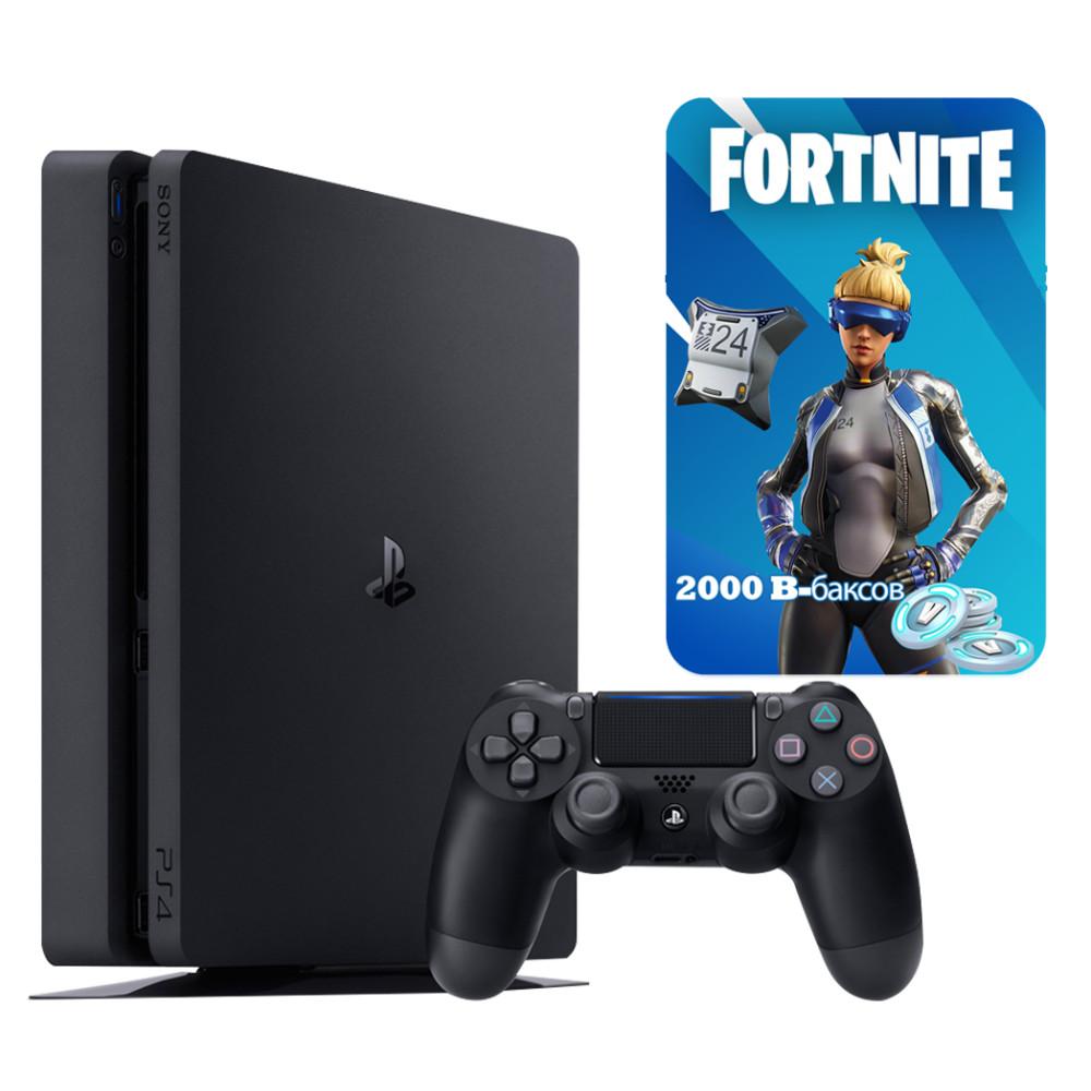 Купить Игровые приставки, Игровая приставка Sony PlayStation 4 Slim (PS4 Slim) 500GB Black + Fortnite